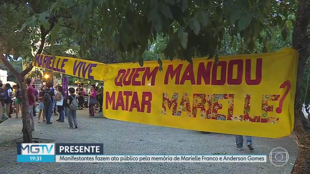 Ato público em BH relembra circunstâncias da morte de Marielle Franco e Anderson Gomes