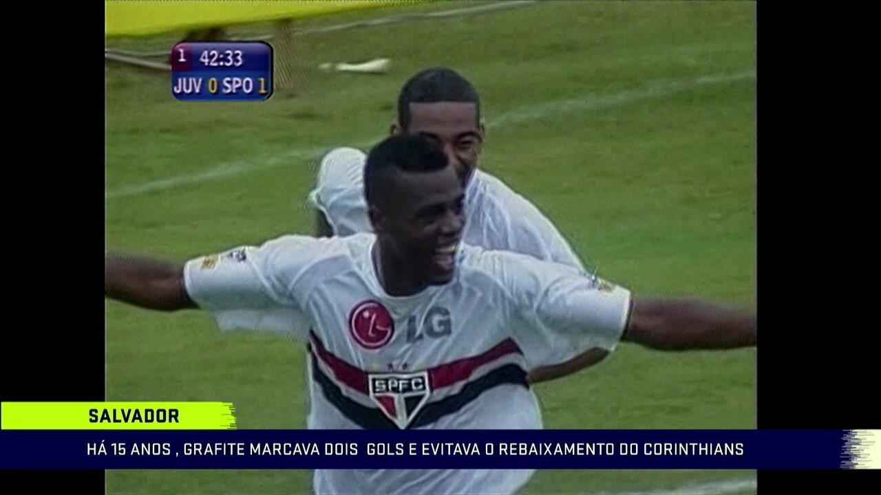 Lembre o dia em que Grafite marcou dois gols pelo São Paulo e livrou o Corinthians do rebaixamento