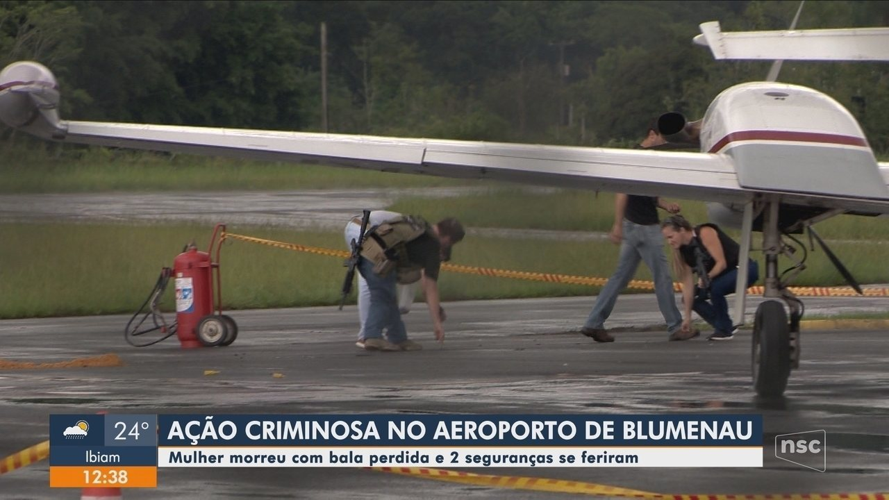 Assalto em aeroporto com bandidos armados com fuzis deixa uma pessoa morta em Blumenau