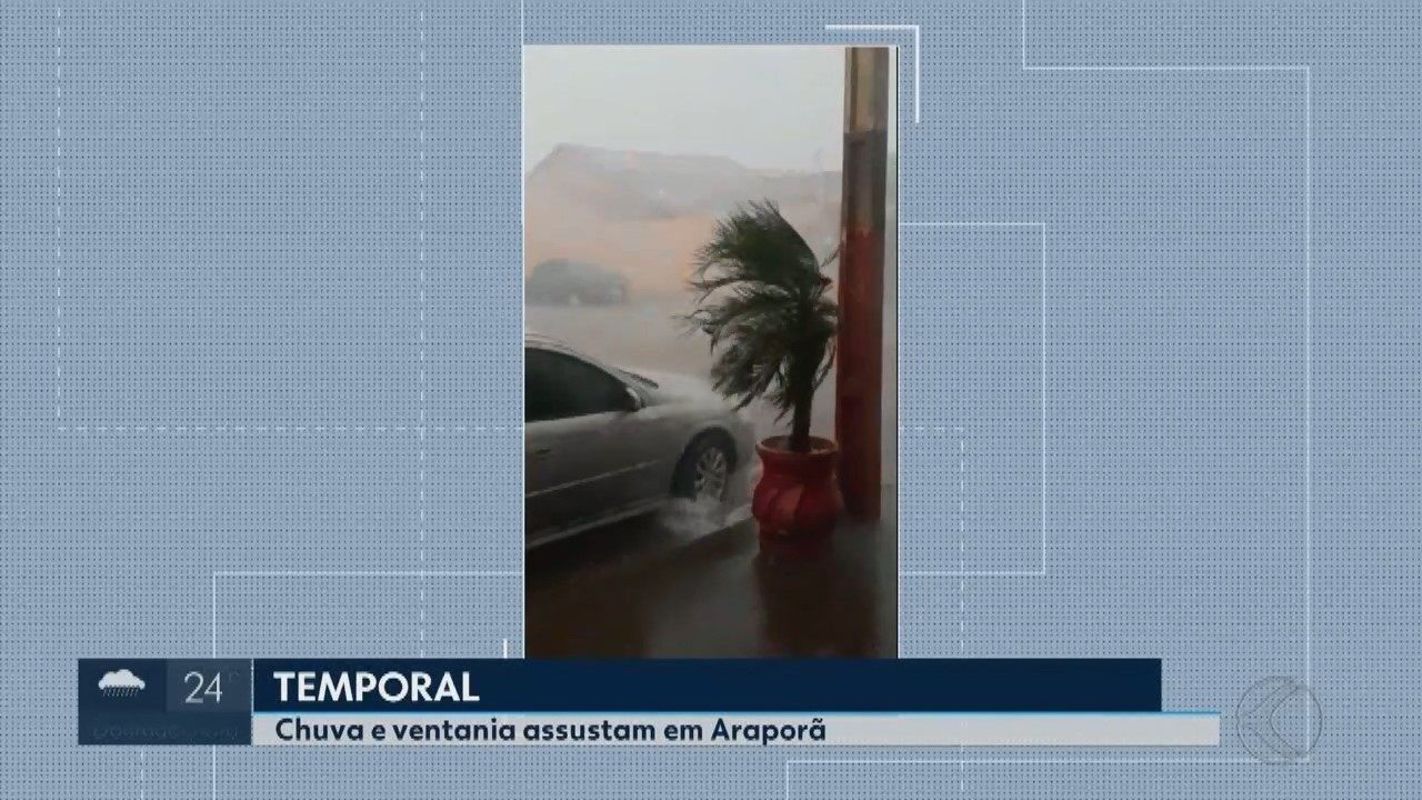 Vídeos e fotos mostram chuva forte e estragos em Araporã