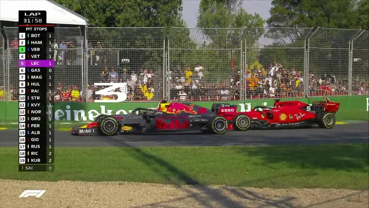 Verstappen ultrapassa Vettel e assume a terceira colocação; Ricciardo abandona a prova