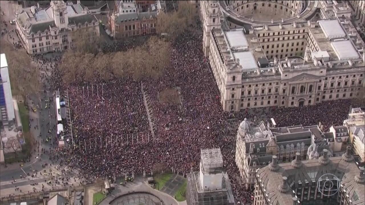 Jornal Hoje - Protesto contra o Brexit em Londres