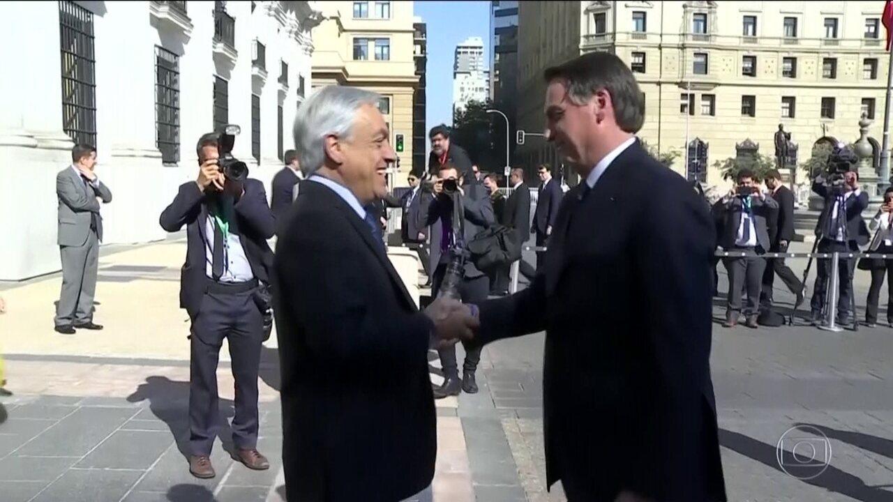 Bolsonaro encerra visita ao Chile estreitando a relação com Sebastián Piñera