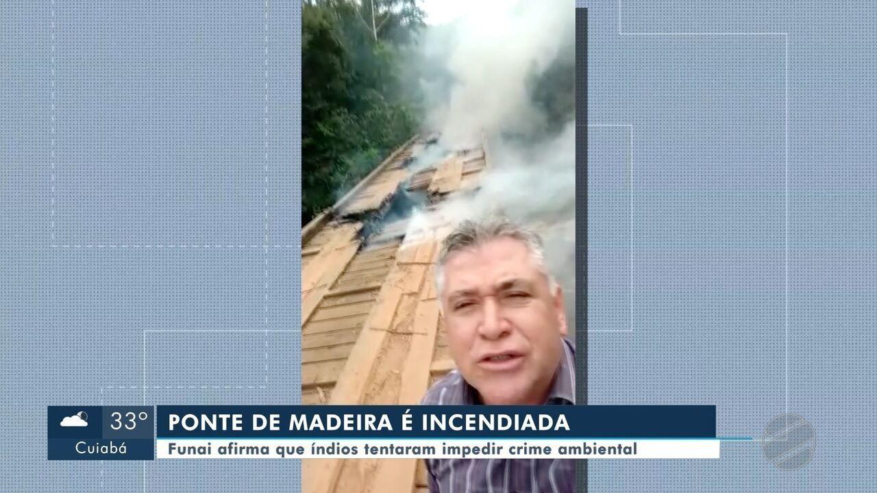 Ponte de madeira é incendiada em Brasnorte