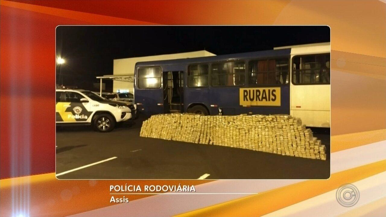 Polícia Rodoviária apreende mais de mail quilos de maconha em assoalho de ônibus em Assis