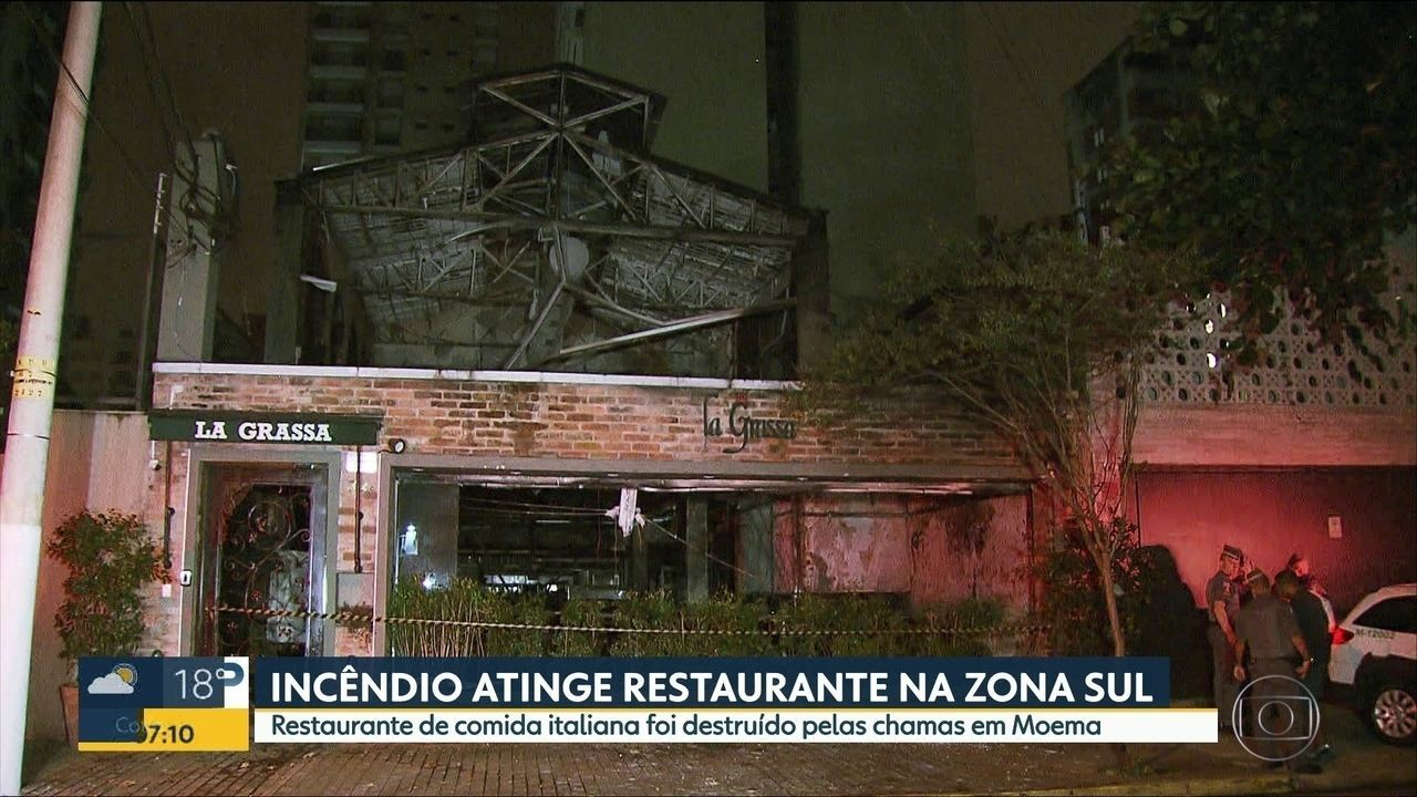 Incêndio atinge restaurante da Zona Sul de SP
