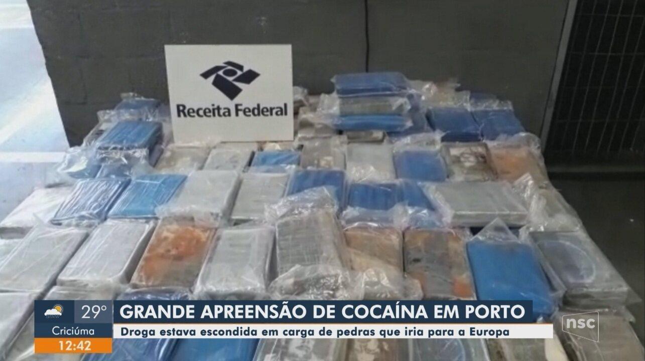 Polícia Federal e Receita Federal apreendem droga em carga no porto de Navegantes