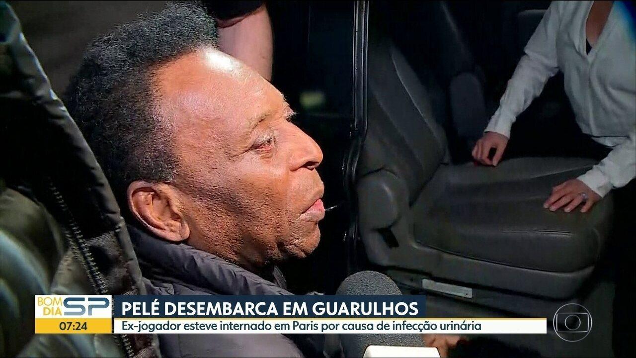 Pelé desembarca no aeroporto de Guarulhos depois de período internado em Paris