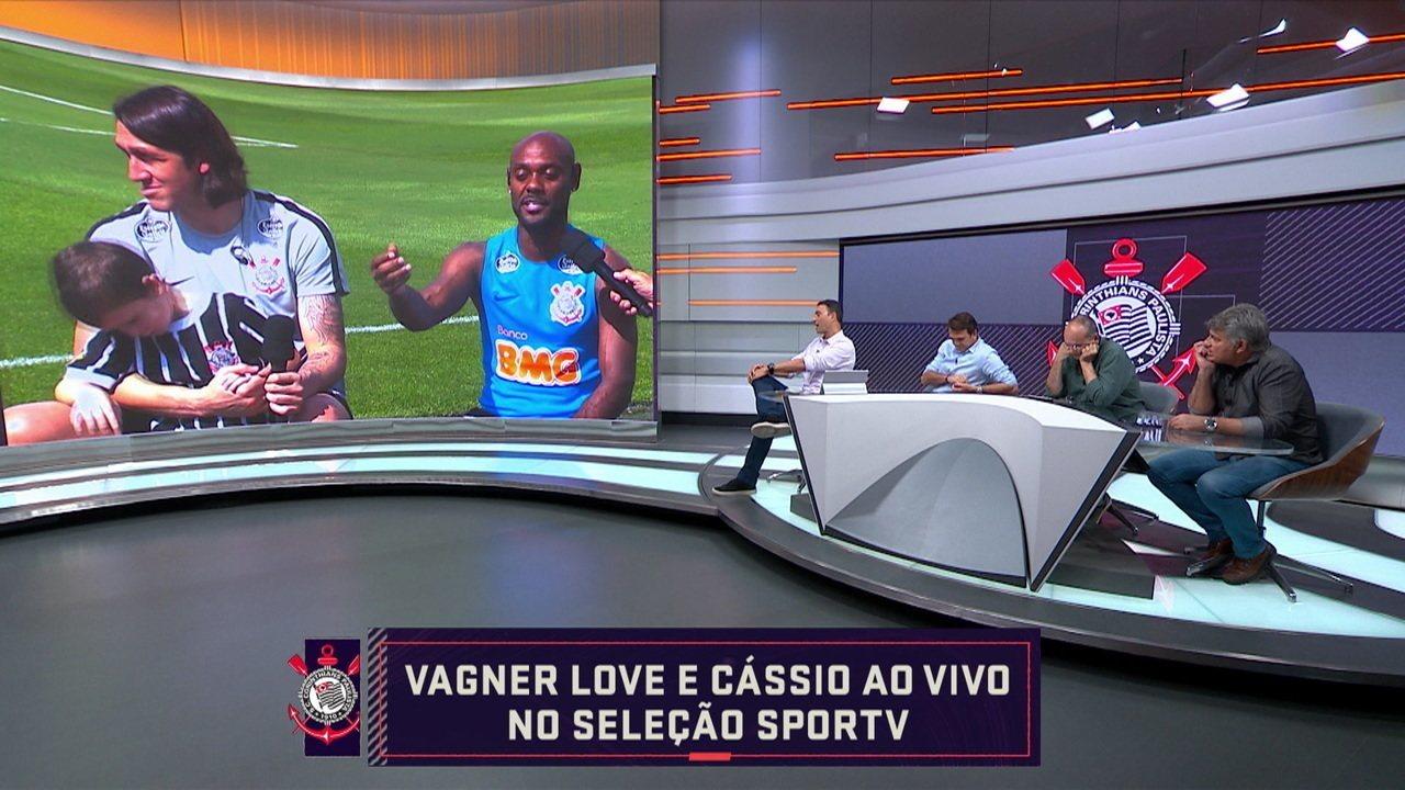 Vagner Love e André Rizek se desentendem durante conversa no Seleção SporTV