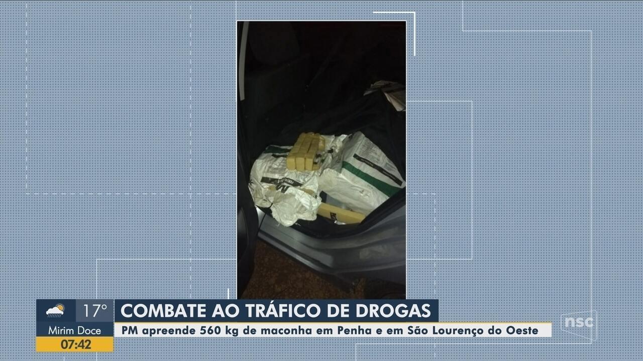 Polícia Militar apreende mais de 560 kg de maconha em Penha e São Lourenço do Oeste