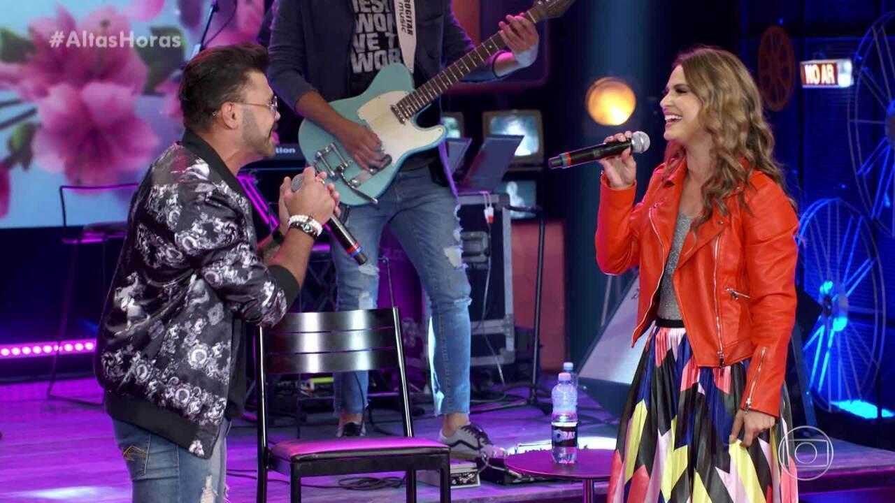 Marcos, da dupla com Belutti, se emociona ao cantar com Aline Barros