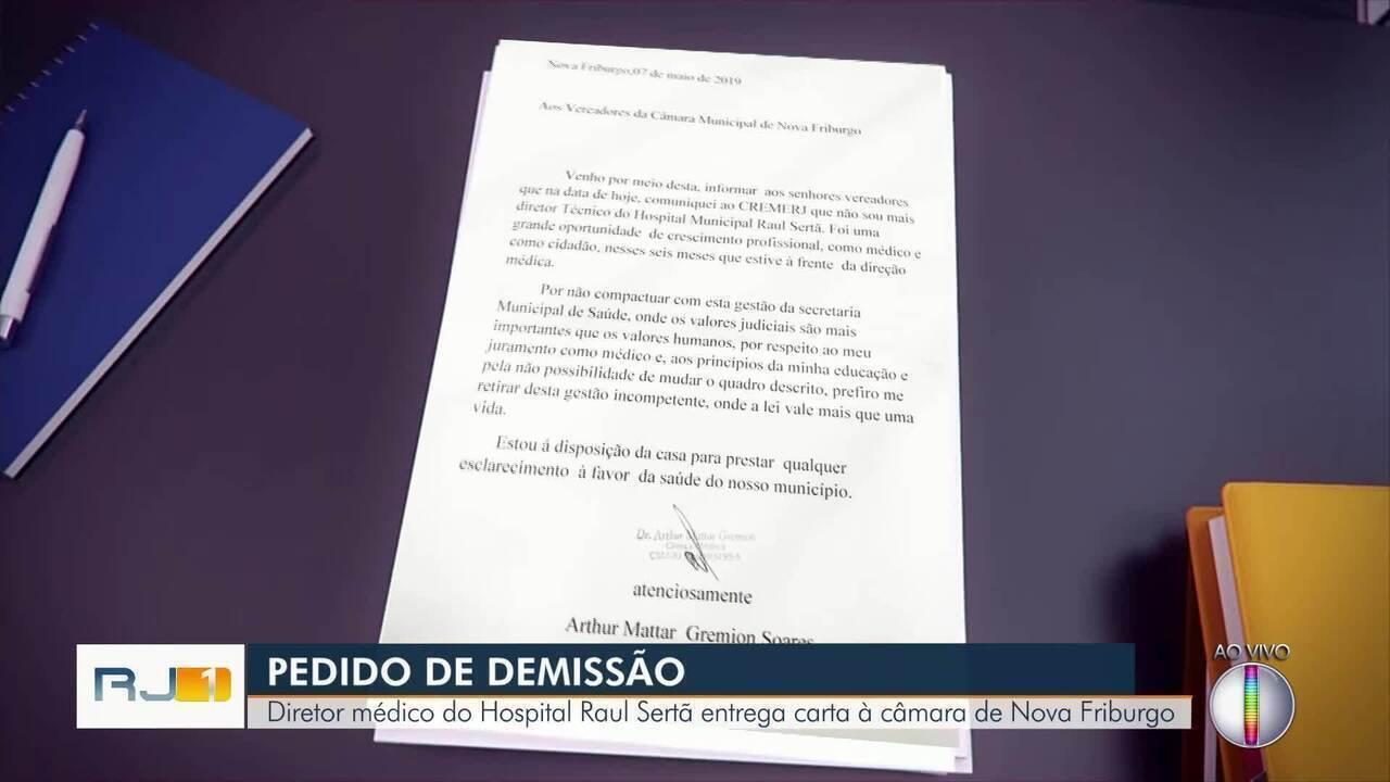 Diretor médico do Hospital Raul Sertã entrega carta de demissão à câmara de Nova Friburgo