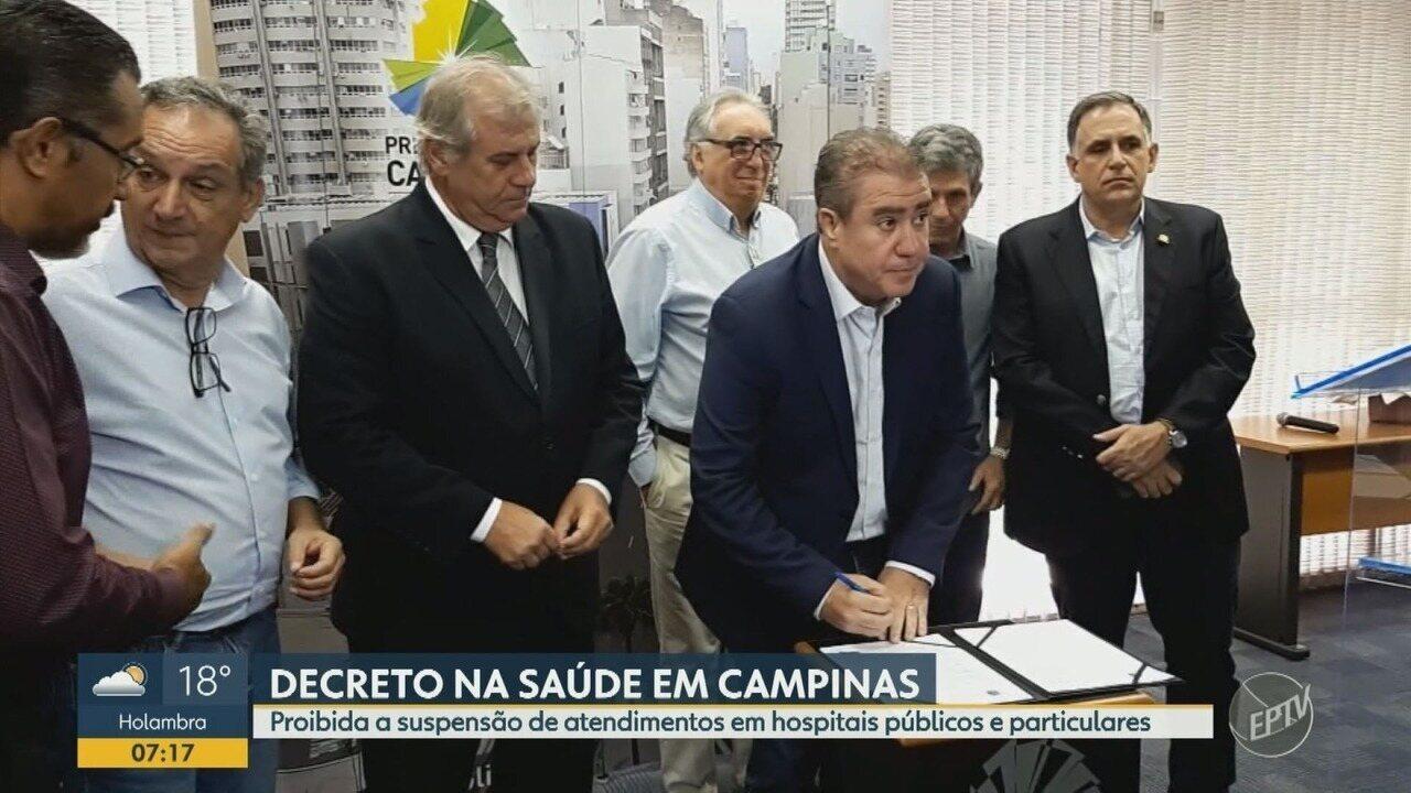 Decreto proíbe suspensão de atendimentos em hospitais públicos e particulares de Campinas