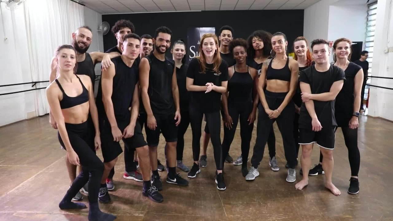 Sophia Abrahão participa do quadro 'Dança de Grupo' no 'Domingão'