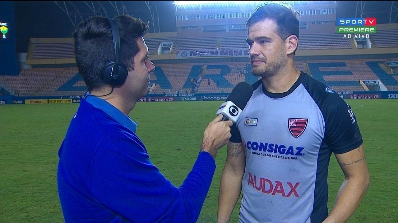 Matheus Cavichioli fala do empate do Oeste com o Cuiabá pela Série B