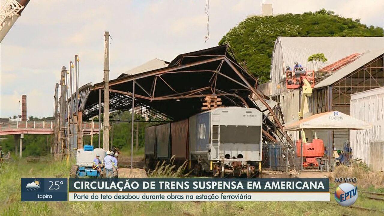 Parte do teto de estação ferroviária cai e circulação de trens é afetada em Americana