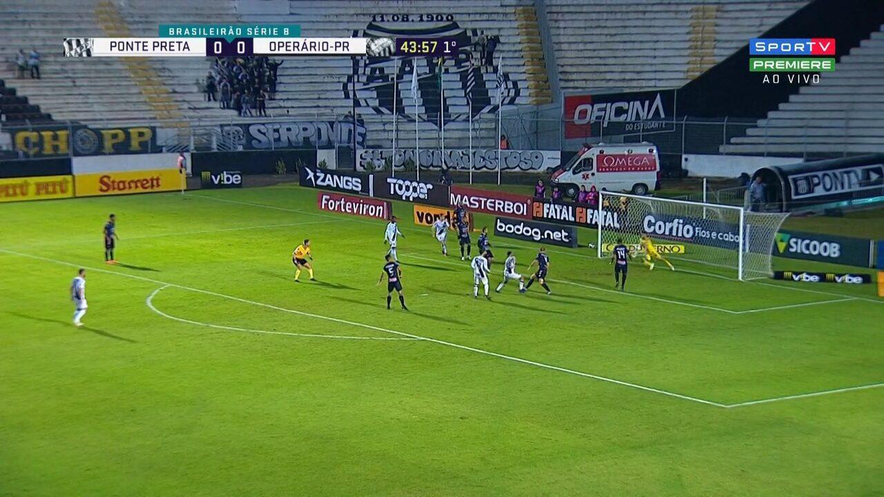 Facundo Batista corta a marcação e bate à queima-roupa, para ótima defesa do goleiro Simão