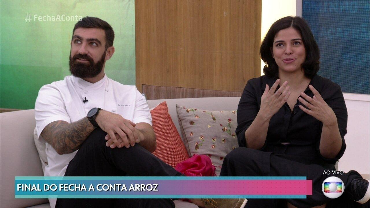 Jurados Bruno Katz e Ana Luiza Trajano participam da final do 'Fecha a Conta Arroz'