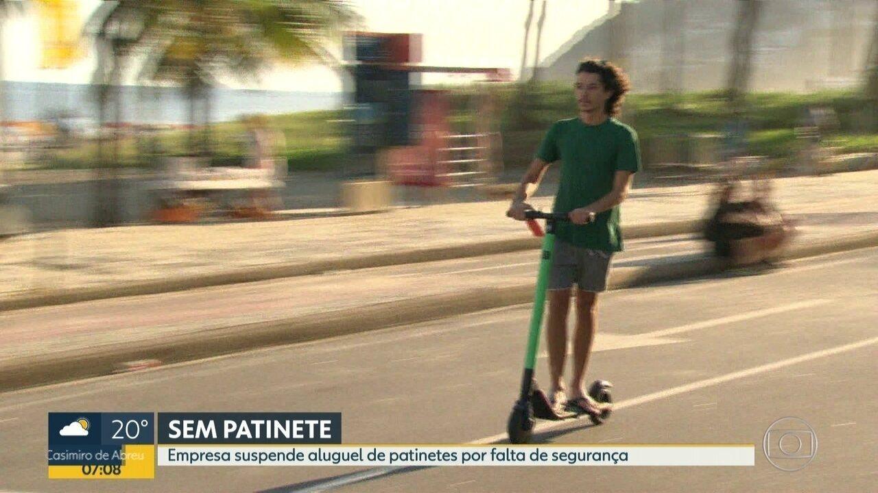 Empresa suspende aluguel de patinetes