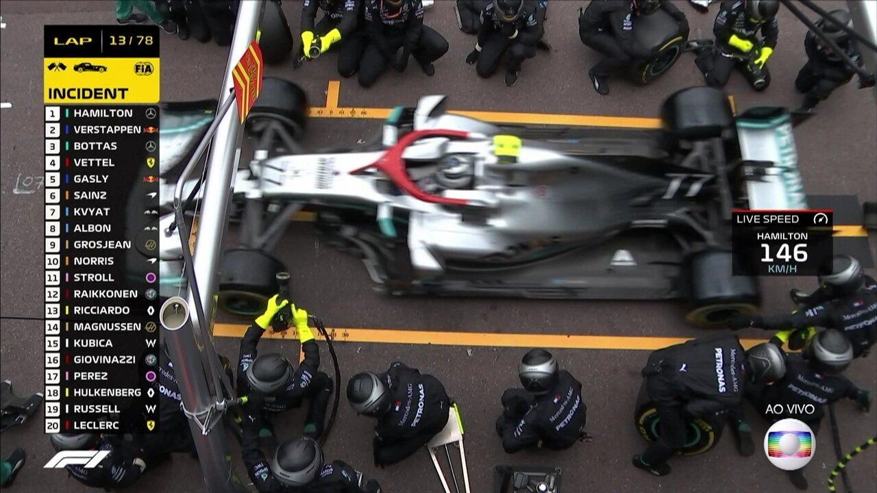 Bottas faz nova parada e coloca pneus duros