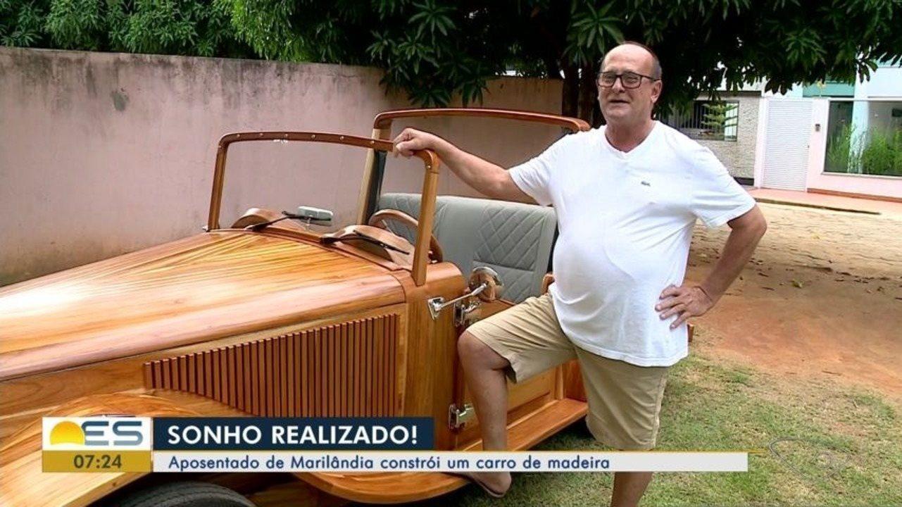 Aposentado de Marilândia, ES, constrói carro de madeira
