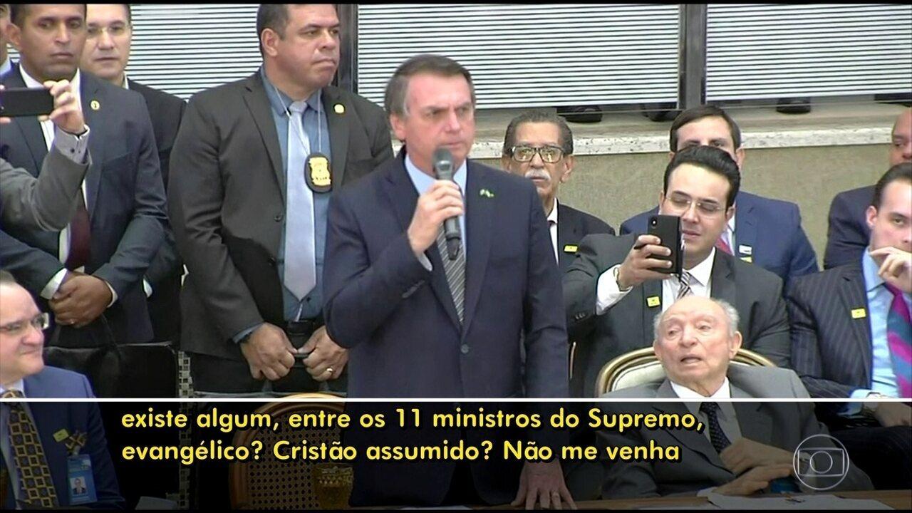 'Não está na hora de termos um evangélico no STF?', questiona Bolsonaro