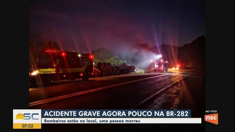 Uma pessoa morre em acidente grave na BR-282 no Oeste de SC
