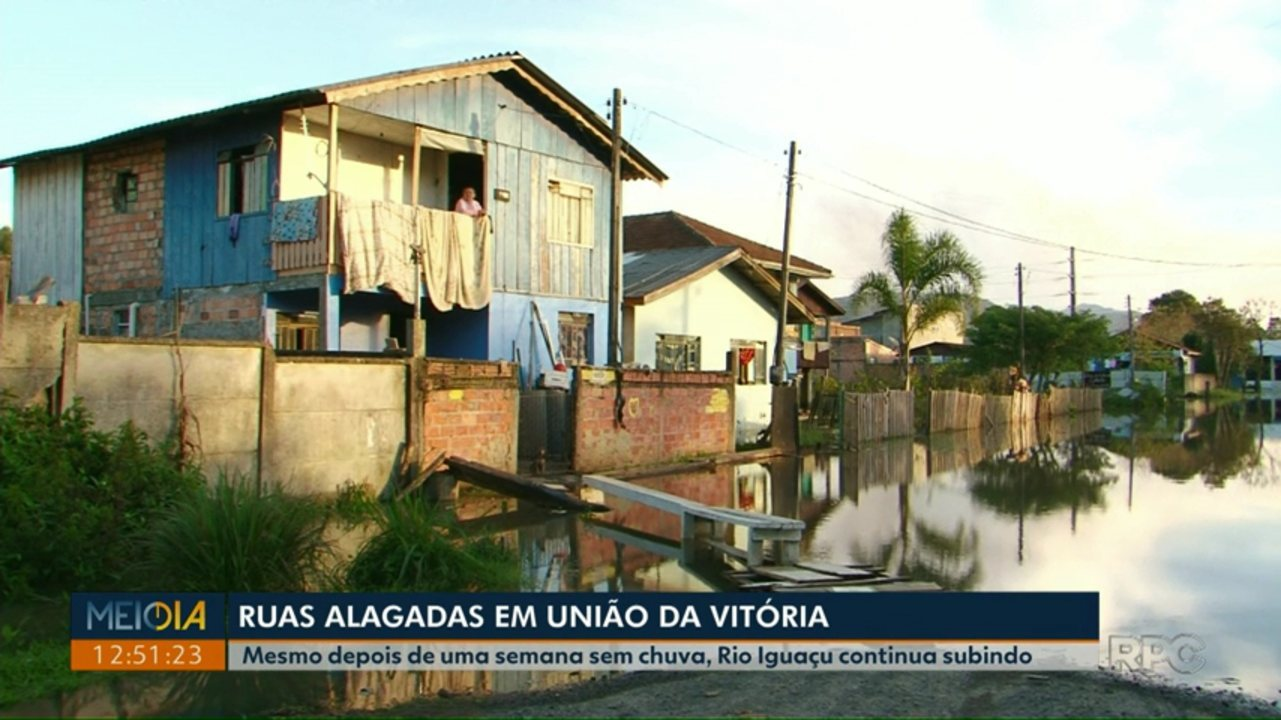Mesmo depois de uma semana sem chuva, Rio Iguaçu continua subindo em União da Vitória