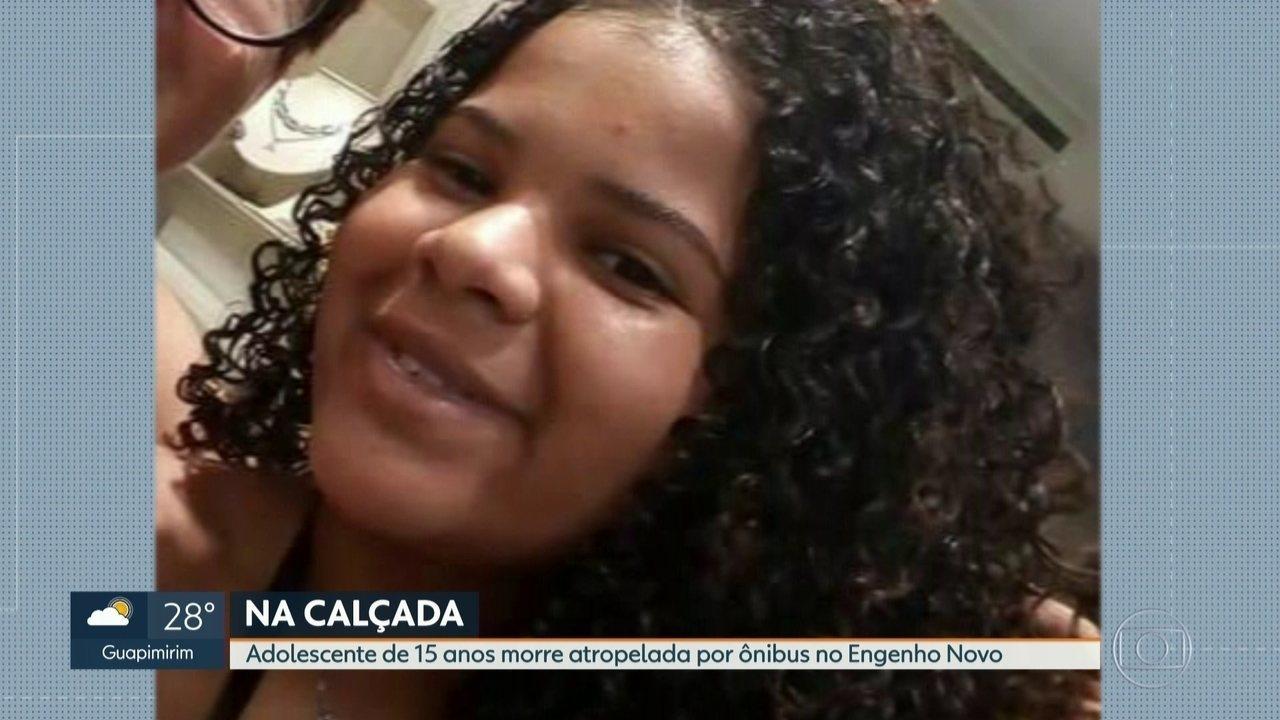 Adolescente de 15 anos morre atropelada por ônibus que invadiu calçada no Engenho Novo
