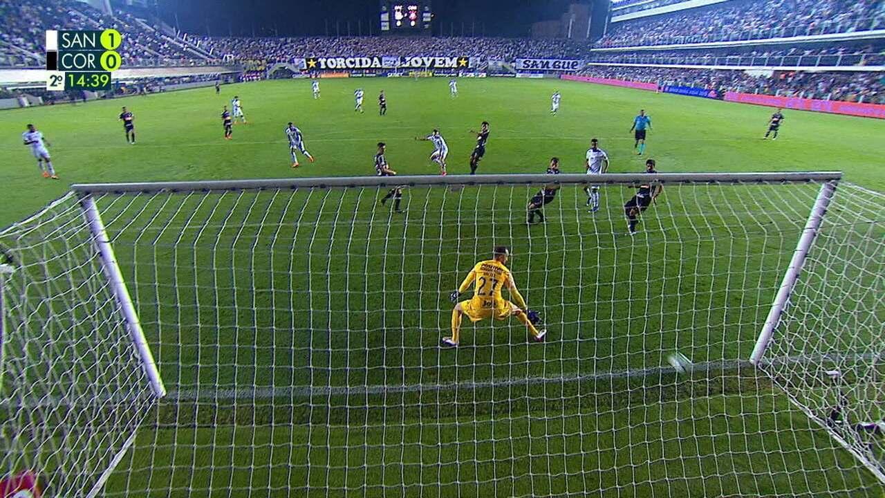 O gol de Santos 1 x 0 Corinthians pela 9ª rodada do Campeonato Brasileiro