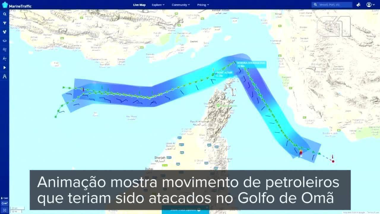 Animação mostra movimento de navios petroleiros que teriam sido atacados no Golfo de Omã