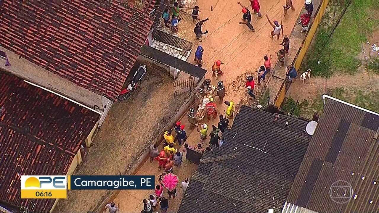 Cinco pessoas morrem após deslizamento de barreira em Camaragibe