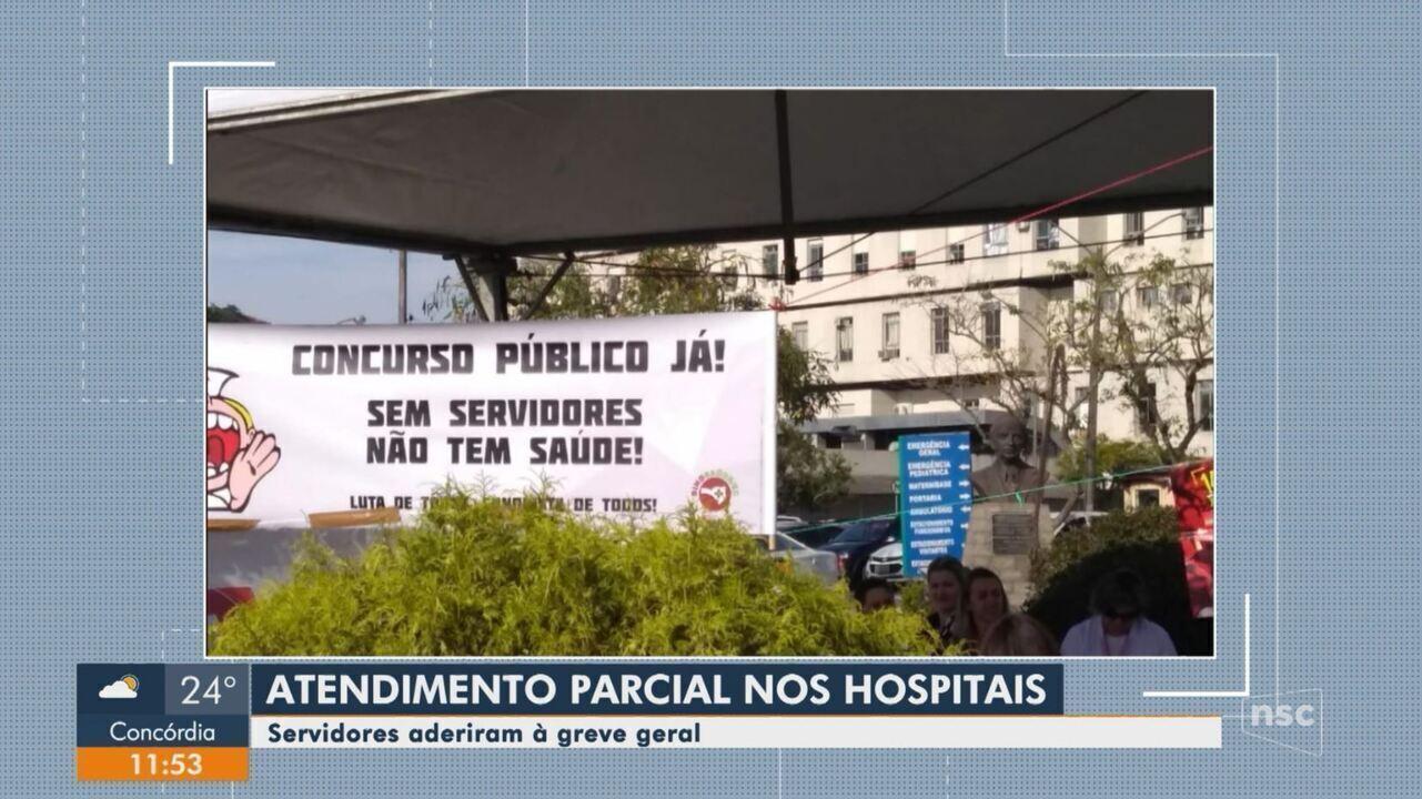 Hospitais de SC têm atendimento parcial durante a paralisação desta sexta-feira (14)
