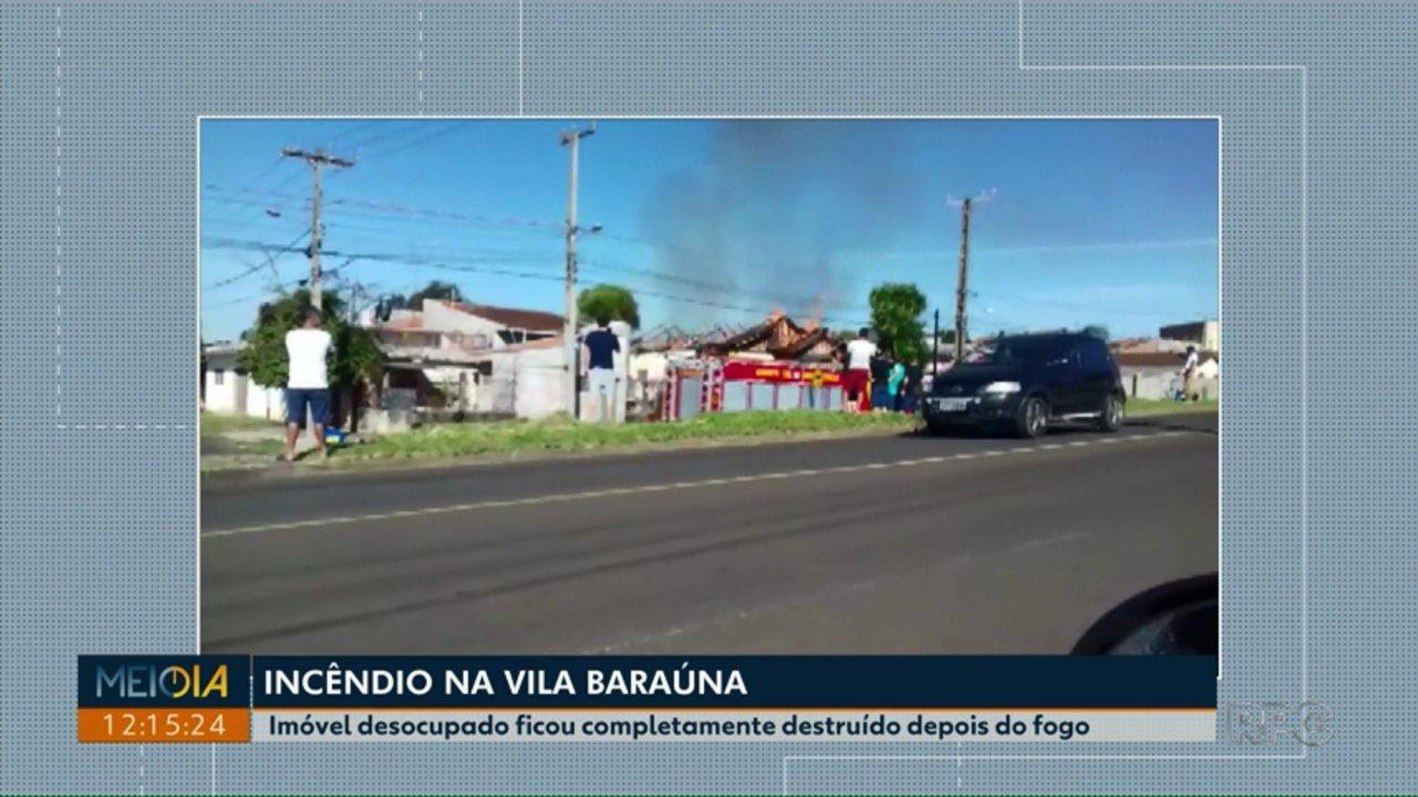 Incêndio destrói casa na Vila Baraúna, em Ponta Grossa