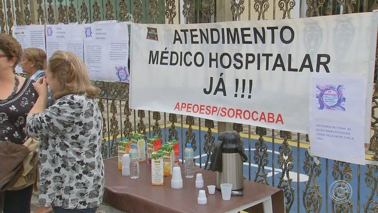 Servidores públicos protestam por melhorias no atendimento de saúde em Sorocaba