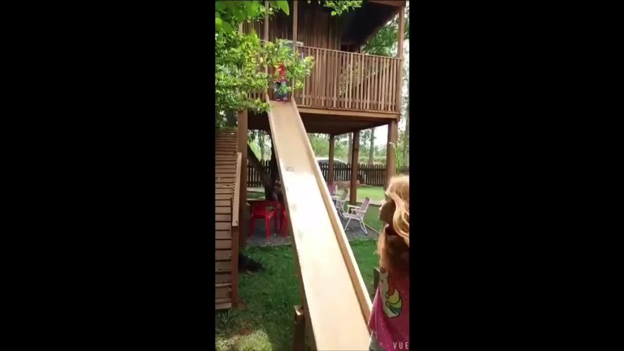 Bebê é salva pela prima ao cair de escorregador de casa na árvore em MT