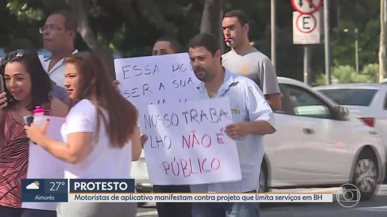 Motoristas de aplicativo protestam em BH contra PL que quer regulamentar categoria