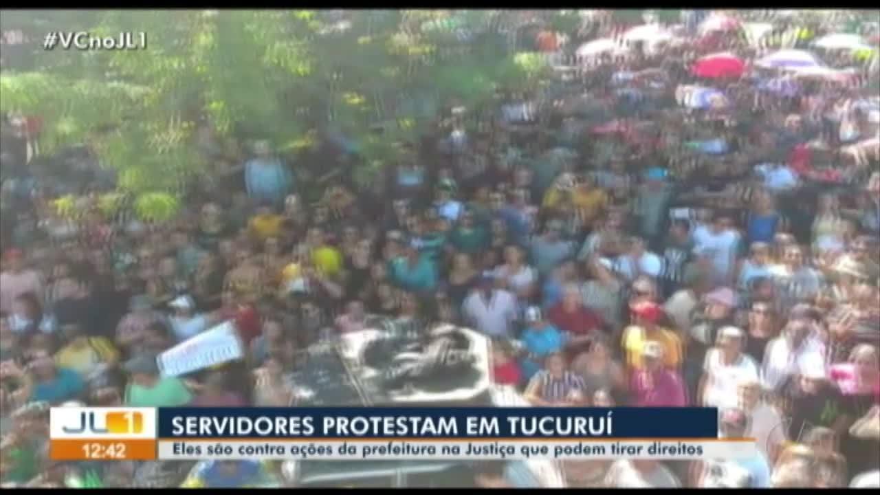 Servidores públicos de Tucuruí protestam contra ações da prefeitura na Justiça