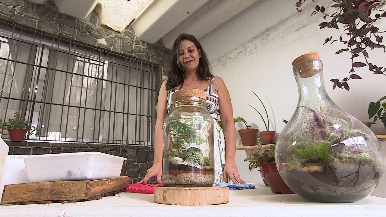 Psicóloga resgata antiga paixão e fatura ao vender mini-jardins