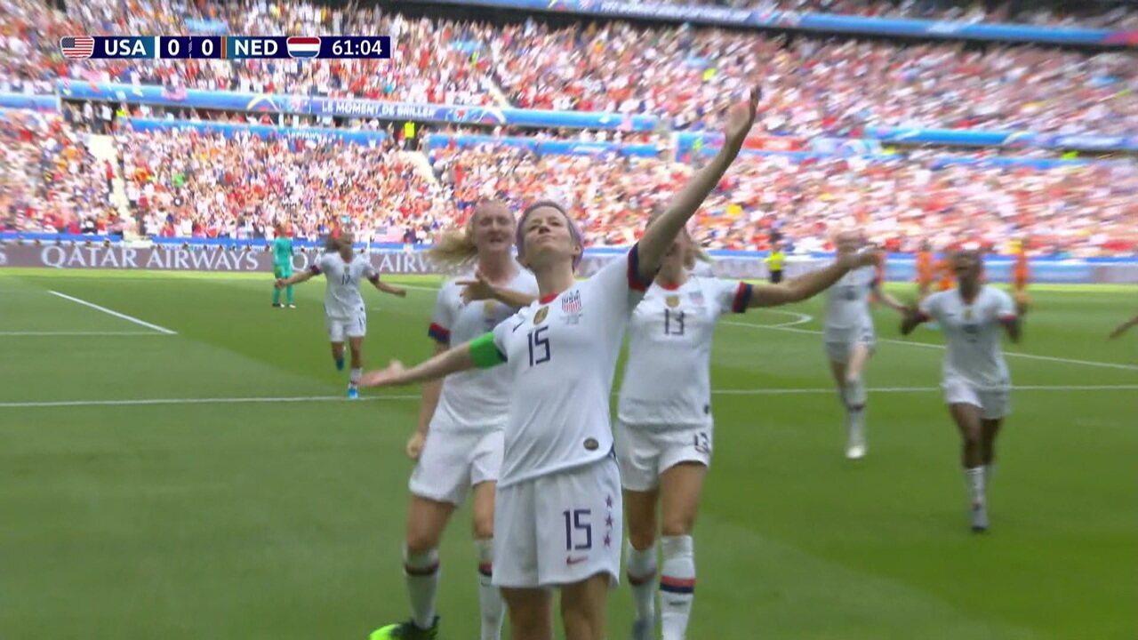 Gol dos EUA! Rapinoe bate e supera Van Veenendaalll, aos 16 do 2º tempo