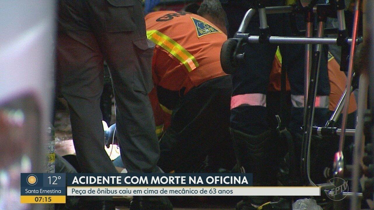 Mecânico morre após ser atingido por peça de ônibus em conserto em Ribeirão Preto