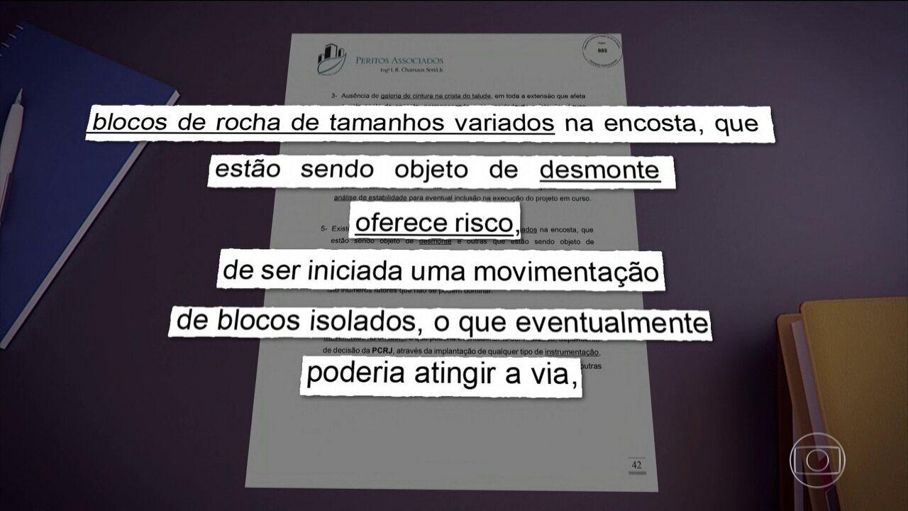 Novo laudo feito por peritos não recomenda reabertura da Avenida Niemeyer, no Rio