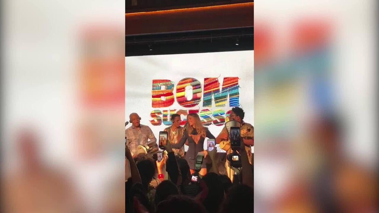 Grazi e David Junior caem no samba no lançamento de Bom Sucesso