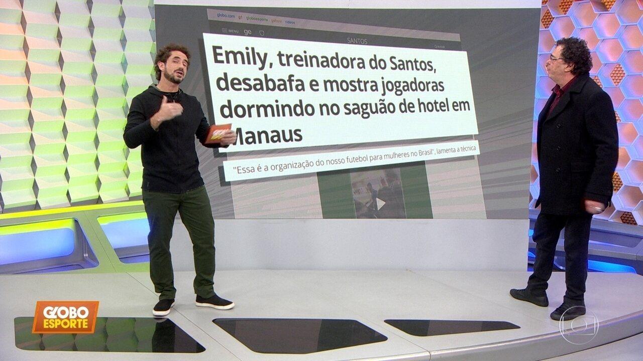 Time feminino do Santos fica sem hospedagem em Manaus, e técnica detona; Casão concorda