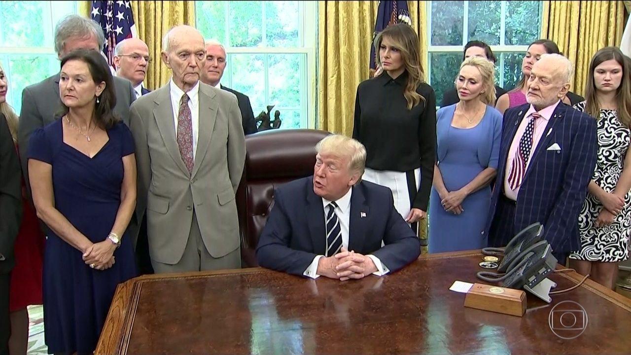 Trump recebe astronautas da missão Apollo 11 na Casa Branca