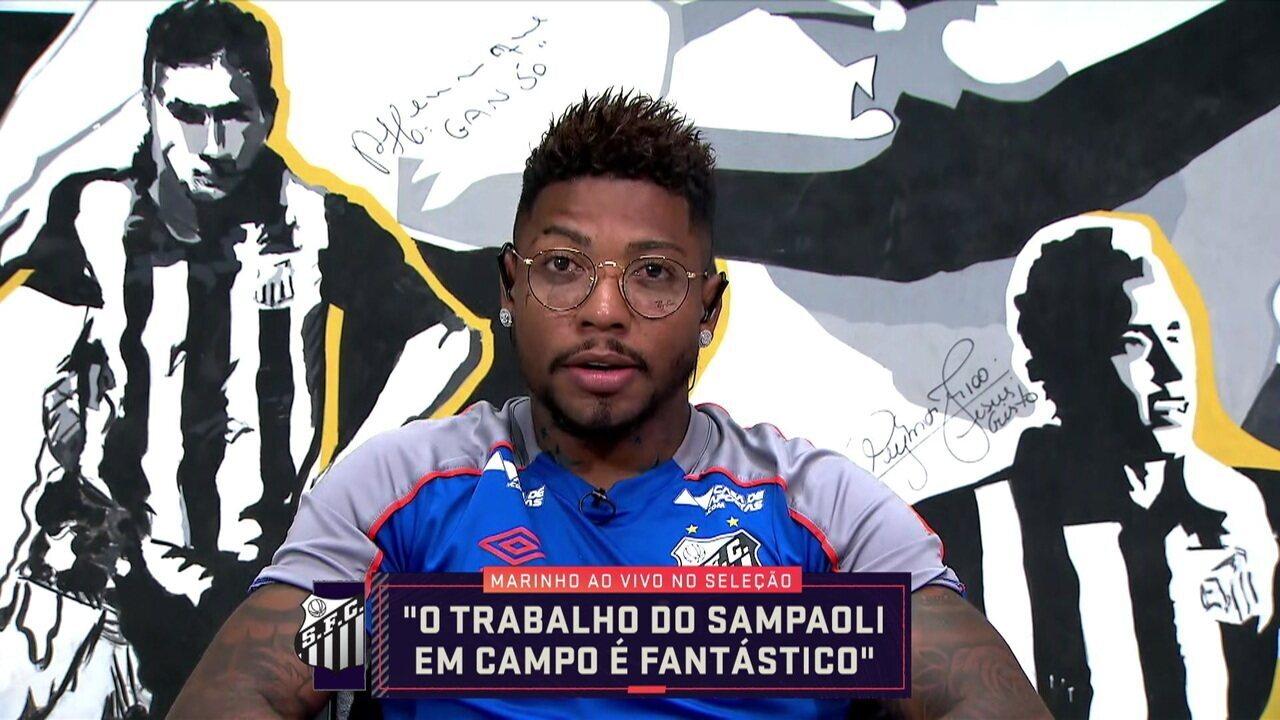 """Marinho explica """"minimíssil aleatório"""" e fala sobre trabalho de Sampoli no Santos"""