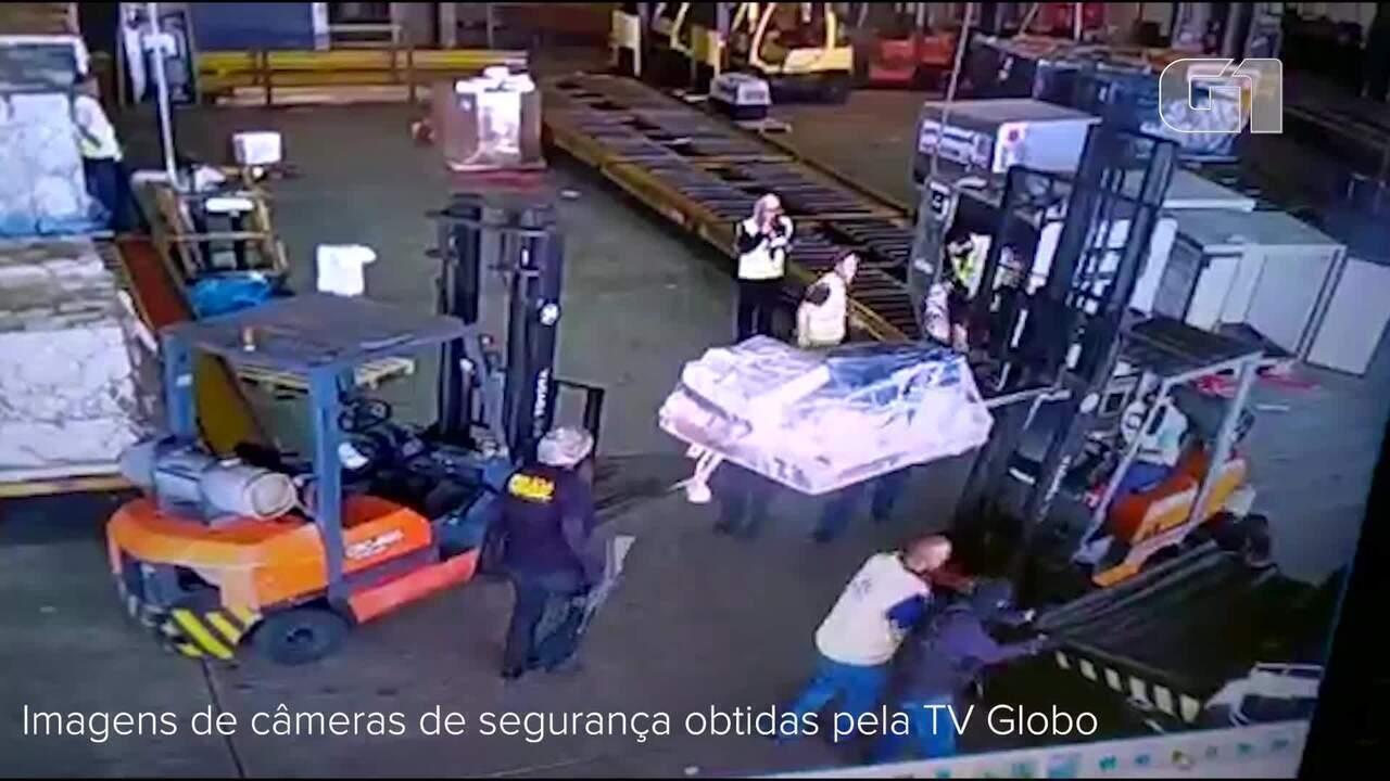 Câmeras registram bandidos dentro do terminal de cargas de Cumbica