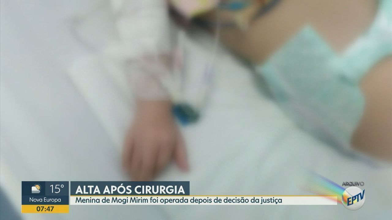 Menina de Mogi Mirim que foi operada após decisão da justiça recebe alta
