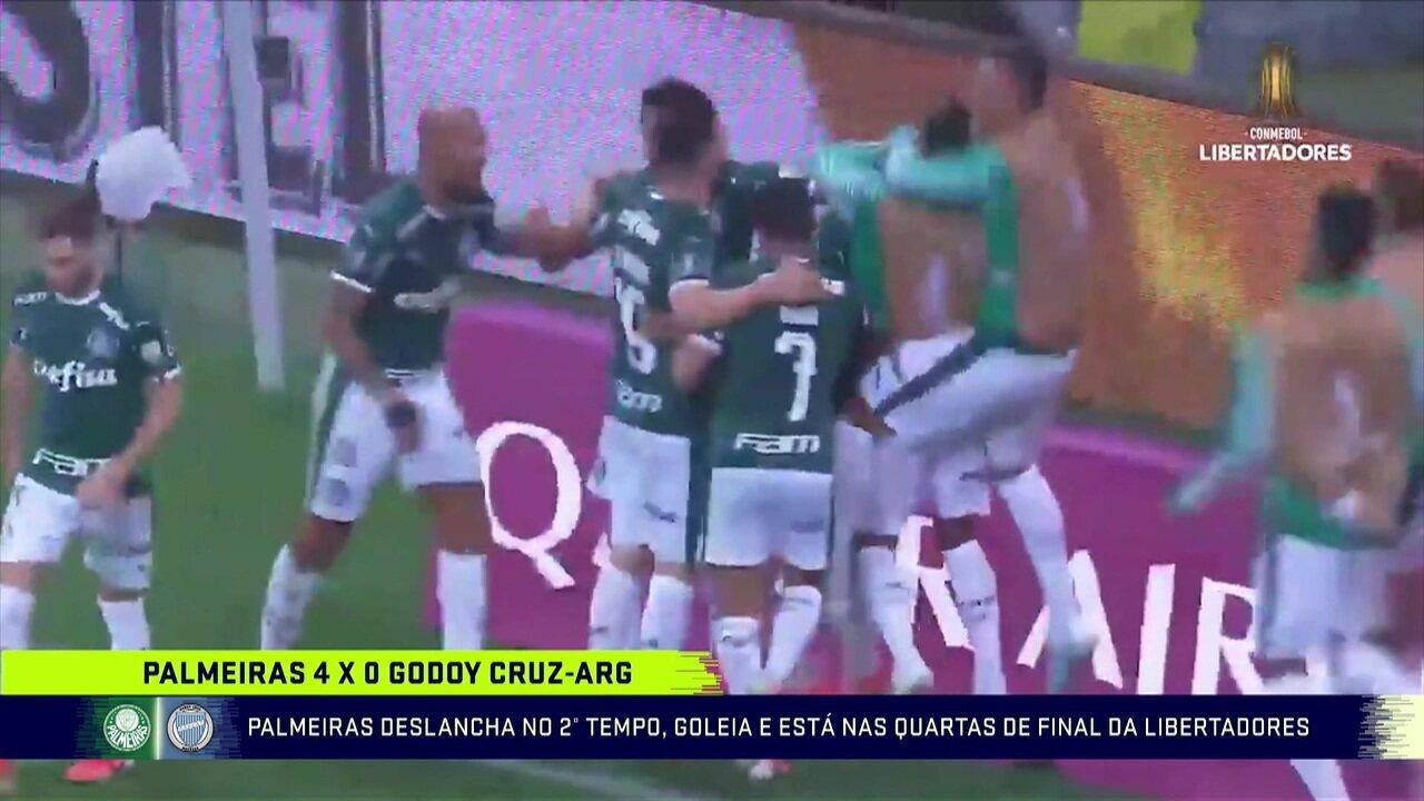 Palmeiras goleia o Godoy Cruz e está nas quartas de final da Libertadores