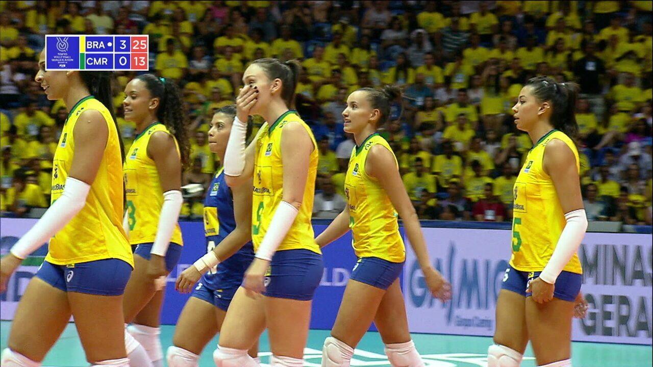 Melhores momentos de Brasil 3 x 0 Camarões pelo Pré-Olímpico Feminino de Vôlei